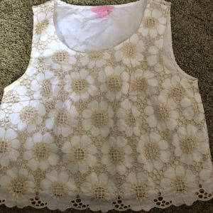 Lily Pulitzer White and Gold Tank Top